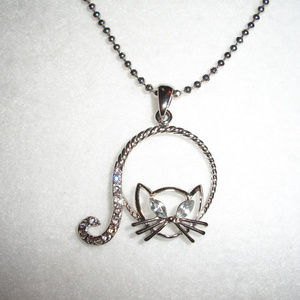 Rhinestone Silver Plate Cat Necklace